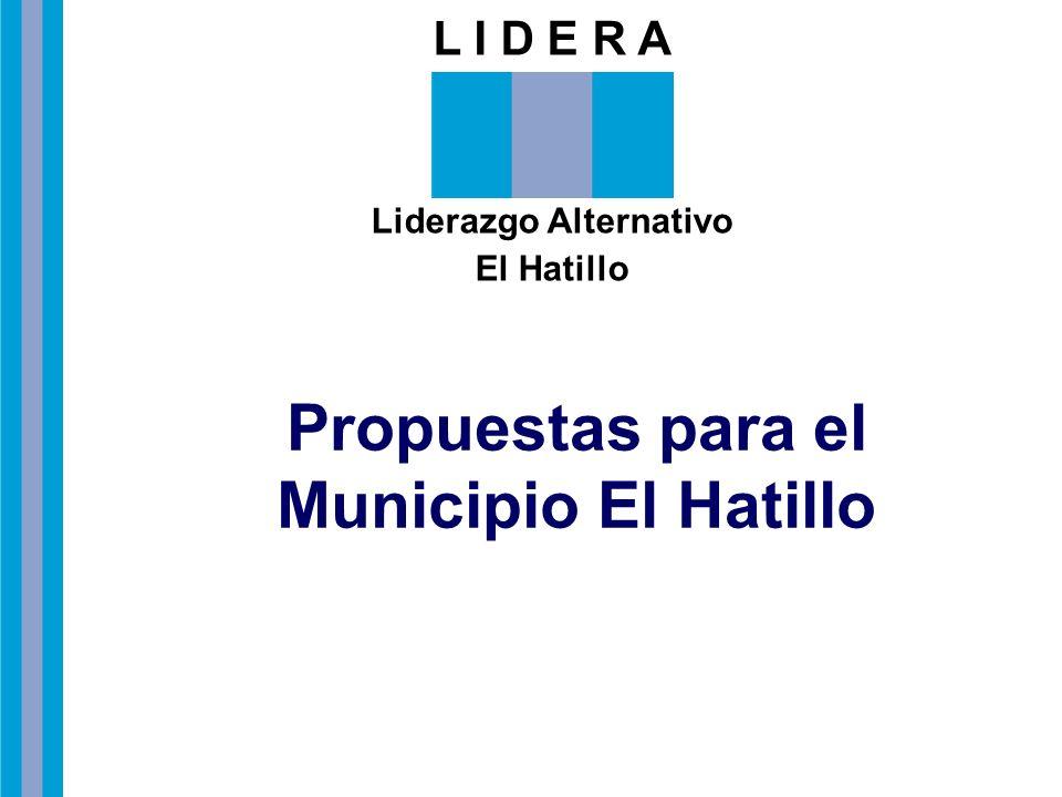 L I D E R A Liderazgo Alternativo El Hatillo Propuestas para el Municipio El Hatillo
