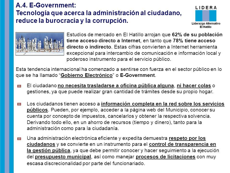 A.4. E-Government: Tecnología que acerca la administración al ciudadano, reduce la burocracia y la corrupción. Estudios de mercado en El Hatillo arroj