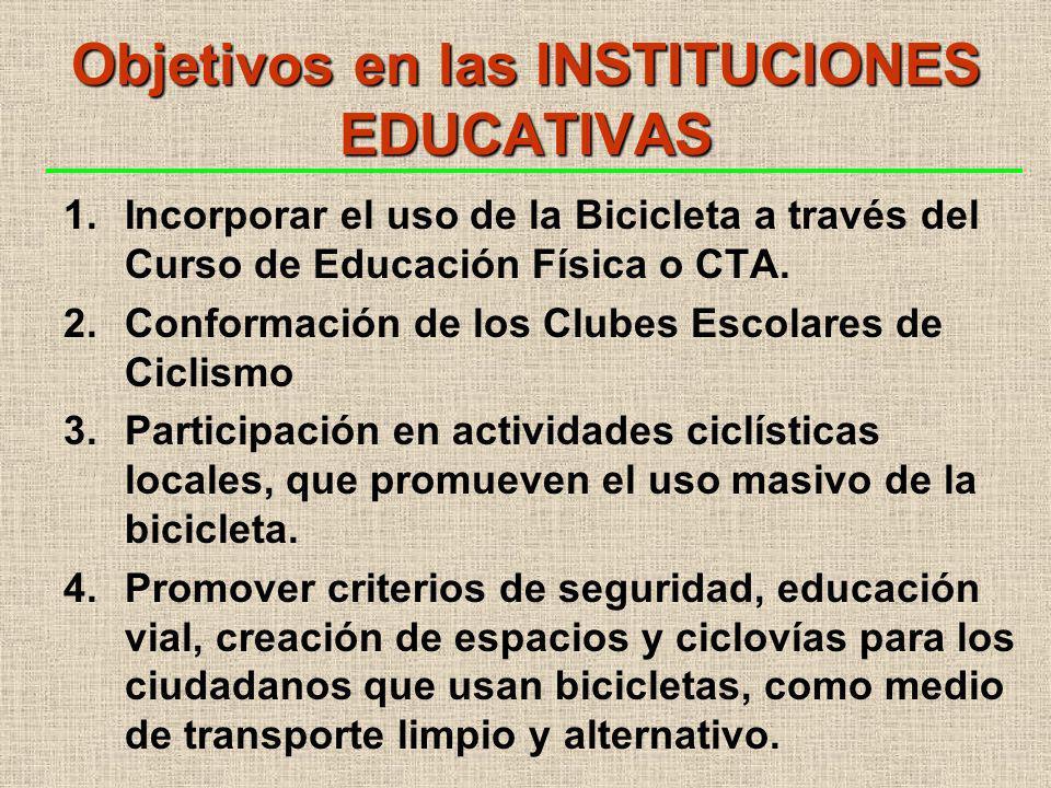 Objetivos en las INSTITUCIONES EDUCATIVAS 1.Incorporar el uso de la Bicicleta a través del Curso de Educación Física o CTA.