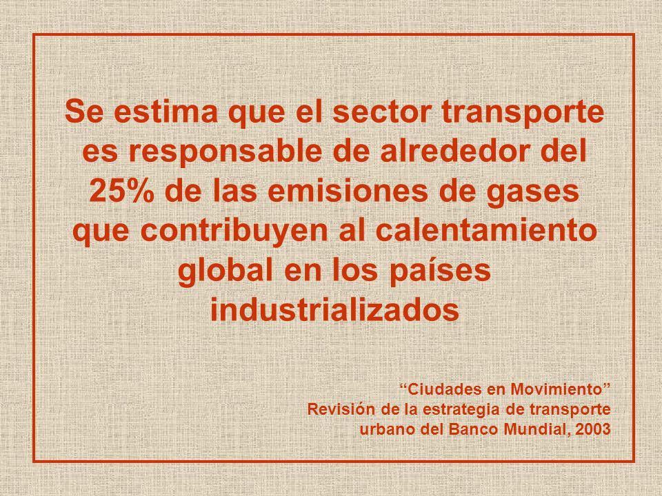 Se estima que el sector transporte es responsable de alrededor del 25% de las emisiones de gases que contribuyen al calentamiento global en los países industrializados Ciudades en Movimiento Revisión de la estrategia de transporte urbano del Banco Mundial, 2003
