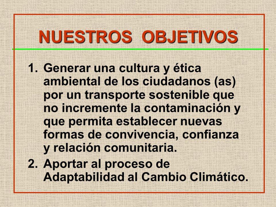 NUESTROS OBJETIVOS 1.Generar una cultura y ética ambiental de los ciudadanos (as) por un transporte sostenible que no incremente la contaminación y que permita establecer nuevas formas de convivencia, confianza y relación comunitaria.