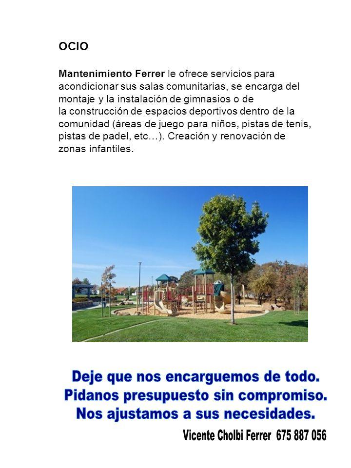 OCIO Mantenimiento Ferrer le ofrece servicios para acondicionar sus salas comunitarias, se encarga del montaje y la instalación de gimnasios o de la construcción de espacios deportivos dentro de la comunidad (áreas de juego para niños, pistas de tenis, pistas de padel, etc…).