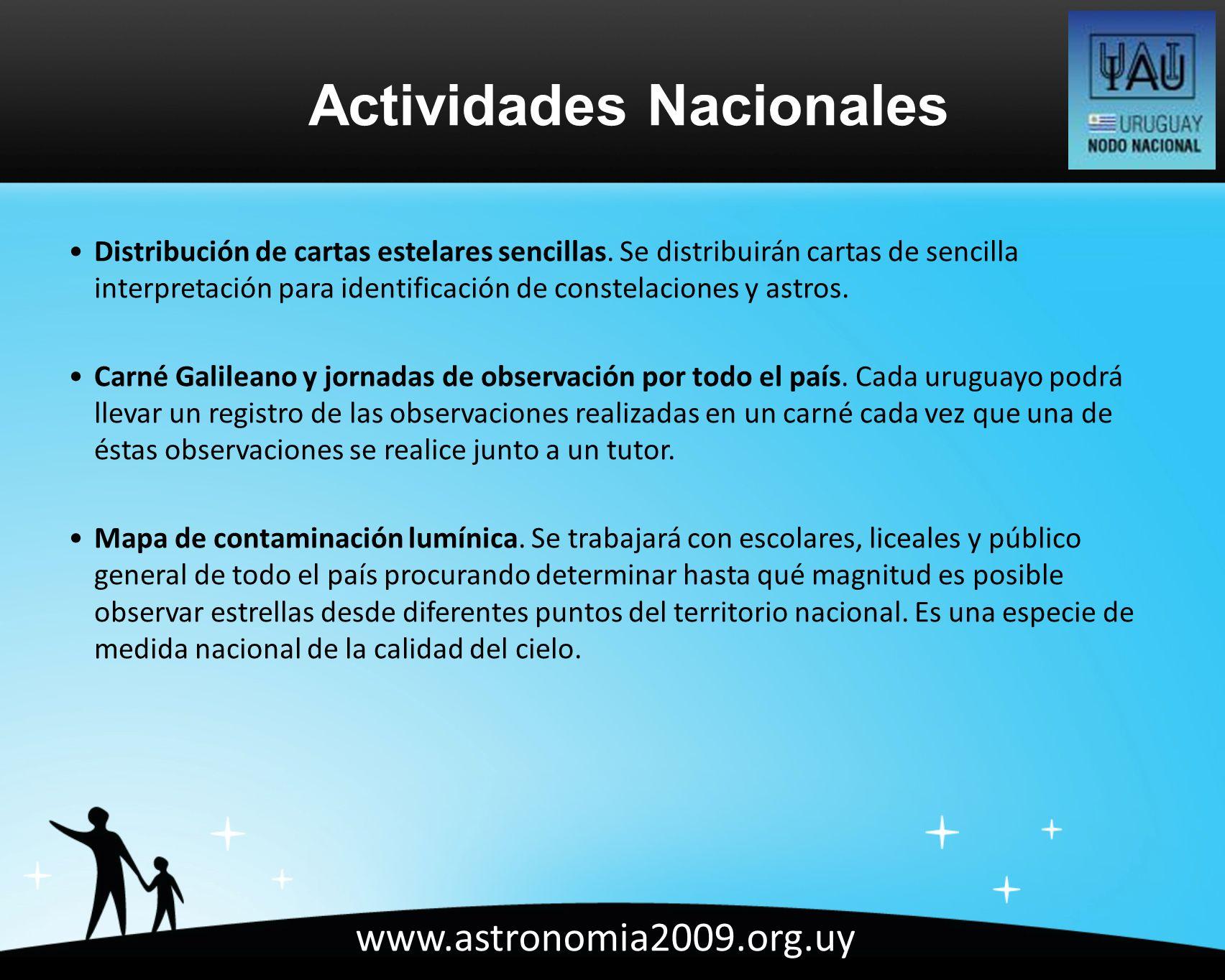 www.astronomia2009.org.uy Distribución de cartas estelares sencillas.