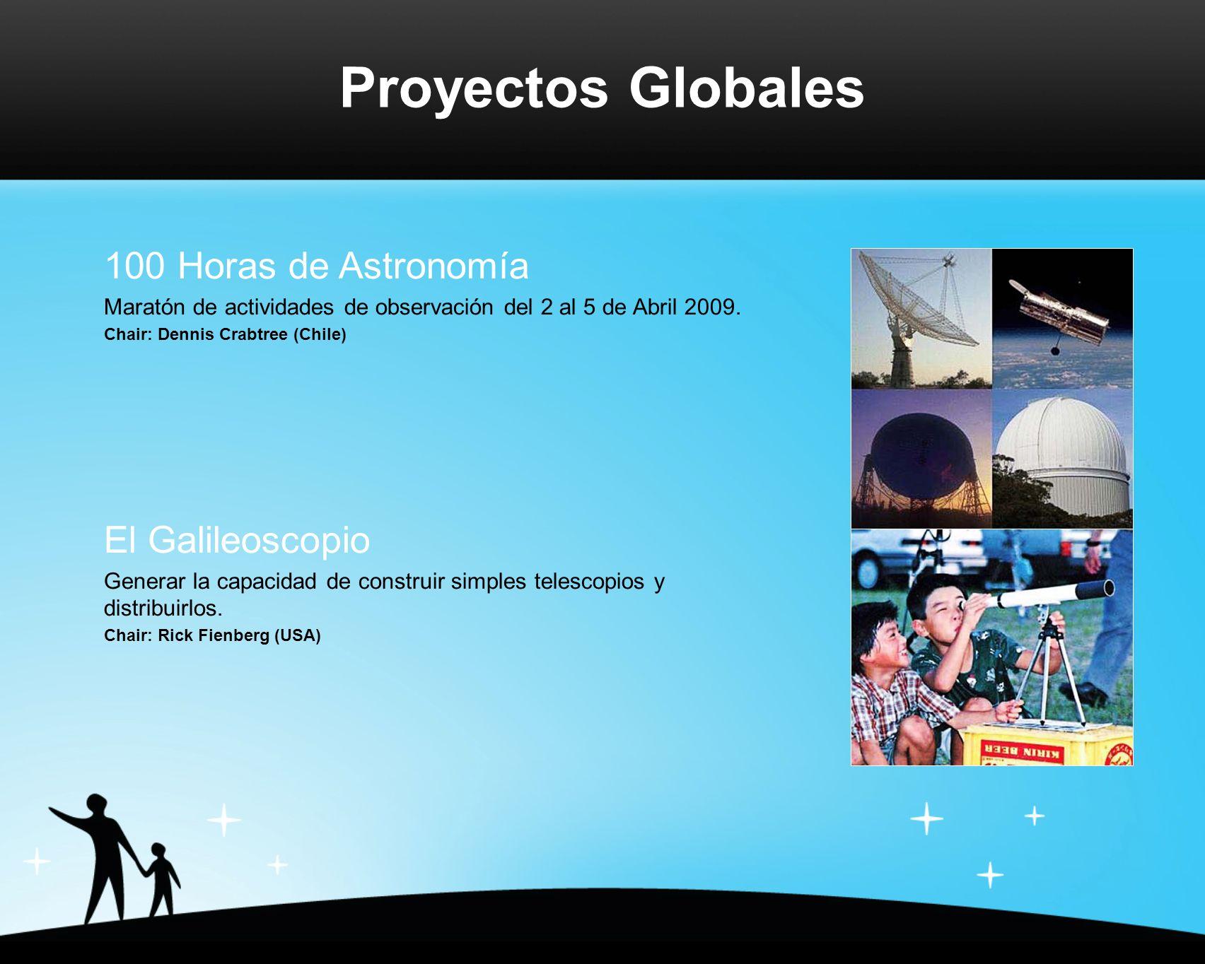 Proyectos Globales 100 Horas de Astronomía Maratón de actividades de observación del 2 al 5 de Abril 2009.