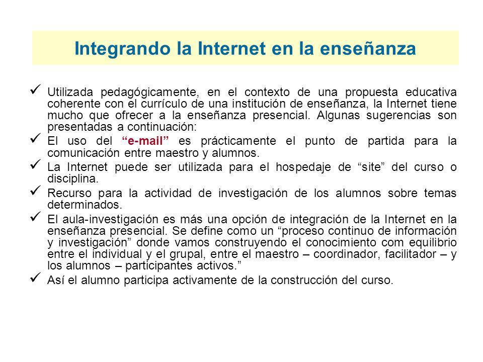 Integrando la Internet en la enseñanza Utilizada pedagógicamente, en el contexto de una propuesta educativa coherente con el currículo de una instituc