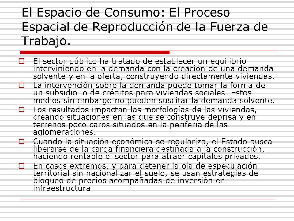 El Espacio de Consumo: El Proceso Espacial de Reproducción de la Fuerza de Trabajo. El sector público ha tratado de establecer un equilibrio intervini