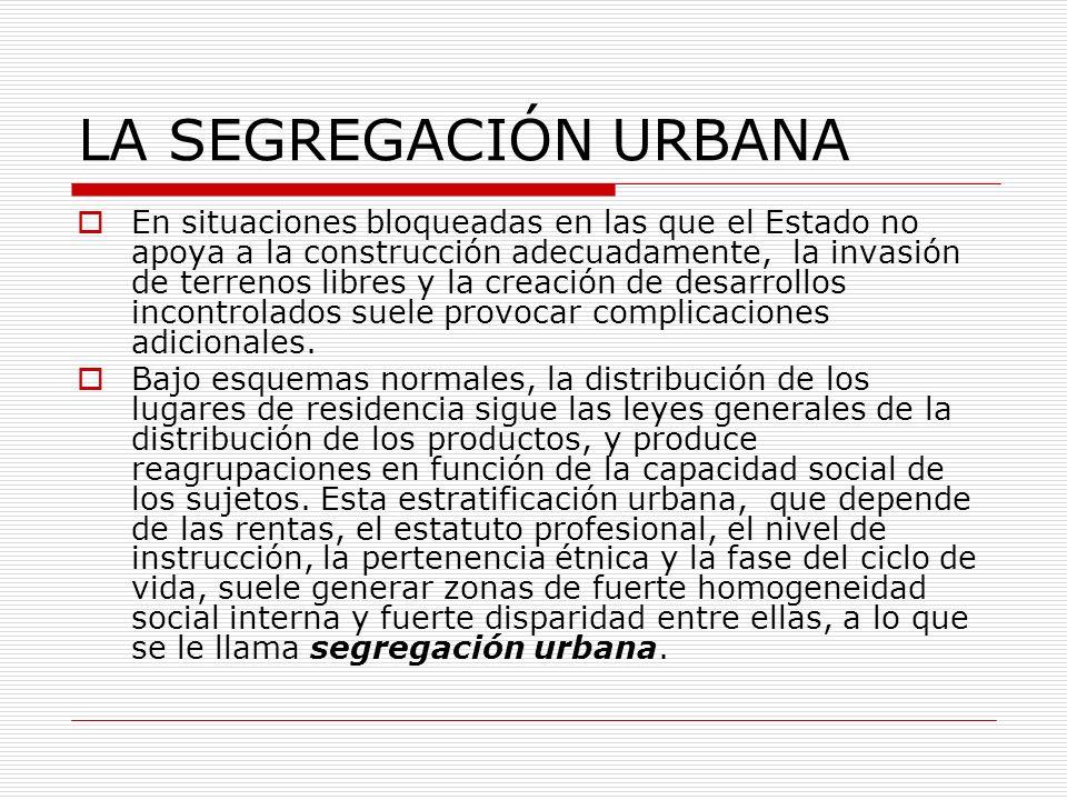 LA SEGREGACIÓN URBANA En situaciones bloqueadas en las que el Estado no apoya a la construcción adecuadamente, la invasión de terrenos libres y la cre