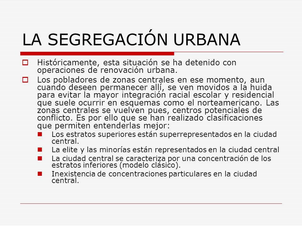 LA SEGREGACIÓN URBANA Históricamente, esta situación se ha detenido con operaciones de renovación urbana. Los pobladores de zonas centrales en ese mom