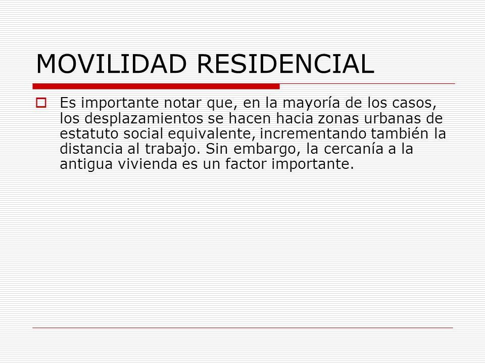 MOVILIDAD RESIDENCIAL Es importante notar que, en la mayoría de los casos, los desplazamientos se hacen hacia zonas urbanas de estatuto social equival