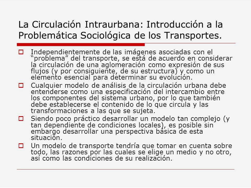 La Circulación Intraurbana: Introducción a la Problemática Sociológica de los Transportes. Independientemente de las imágenes asociadas con el problem