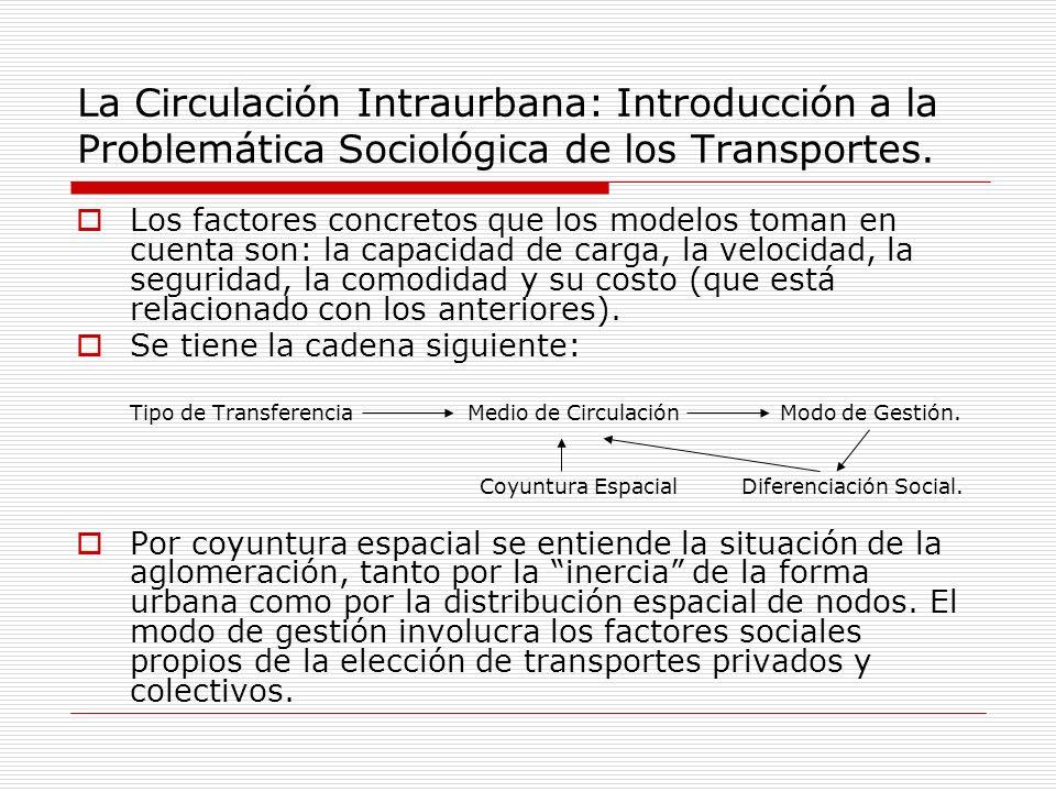 La Circulación Intraurbana: Introducción a la Problemática Sociológica de los Transportes. Los factores concretos que los modelos toman en cuenta son: