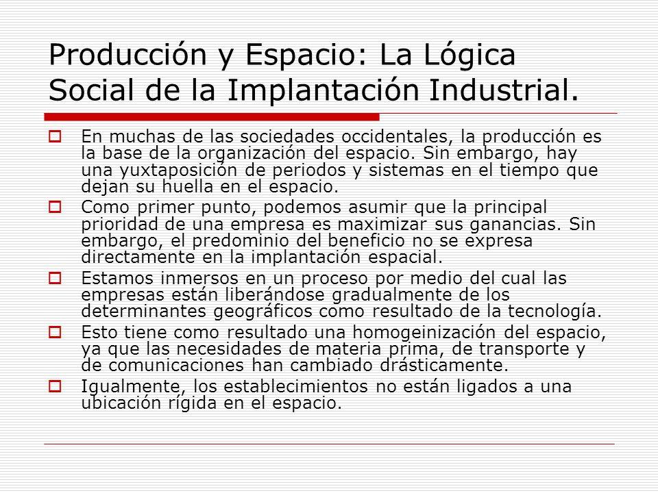 Producción y Espacio: La Lógica Social de la Implantación Industrial. En muchas de las sociedades occidentales, la producción es la base de la organiz