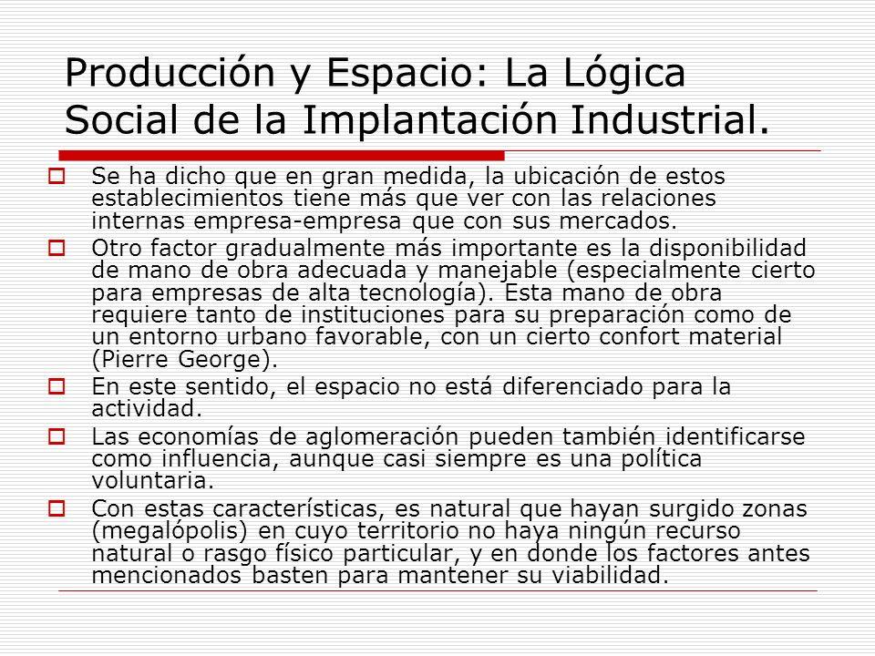 Producción y Espacio: La Lógica Social de la Implantación Industrial. Se ha dicho que en gran medida, la ubicación de estos establecimientos tiene más