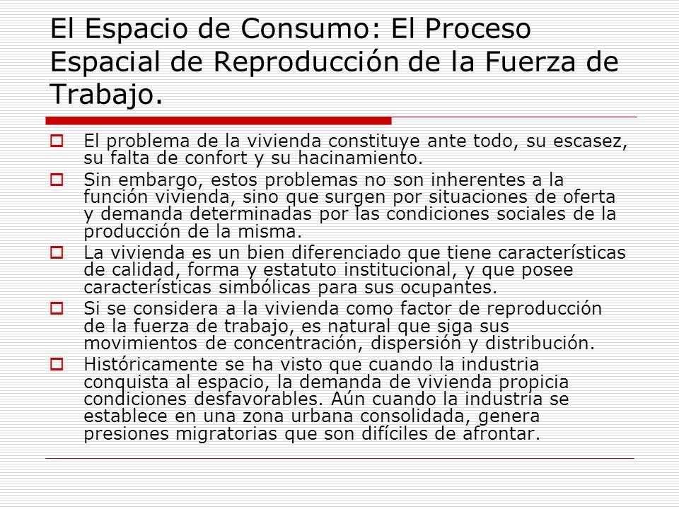 El Espacio de Consumo: El Proceso Espacial de Reproducción de la Fuerza de Trabajo. El problema de la vivienda constituye ante todo, su escasez, su fa