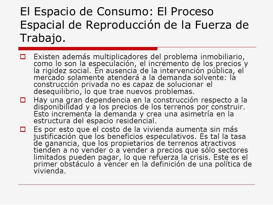 El Espacio de Consumo: El Proceso Espacial de Reproducción de la Fuerza de Trabajo. Existen además multiplicadores del problema inmobiliario, como lo