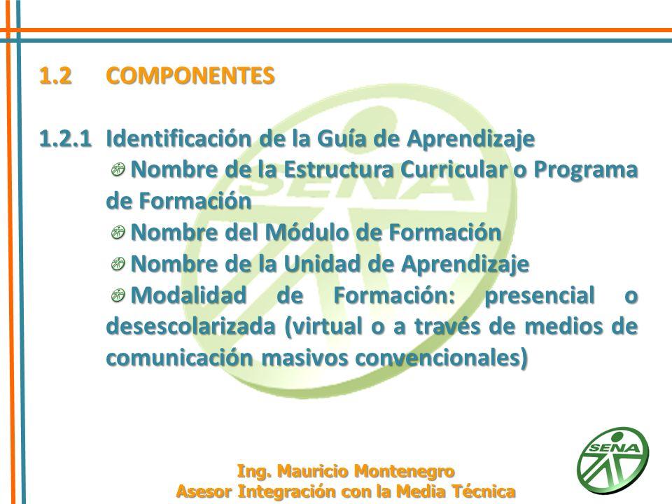 1.2 COMPONENTES 1.2.1 Identificación de la Guía de Aprendizaje Resultados de Aprendizaje Actividad de Enseñanza - Evaluación y su duración.