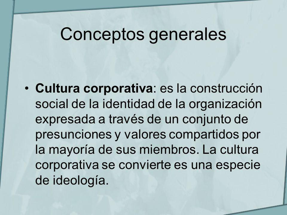 Conceptos generales Cultura corporativa: es la construcción social de la identidad de la organización expresada a través de un conjunto de presuncione