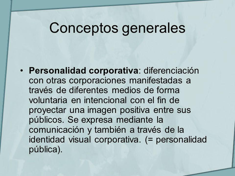 Conceptos generales Personalidad corporativa: diferenciación con otras corporaciones manifestadas a través de diferentes medios de forma voluntaria en