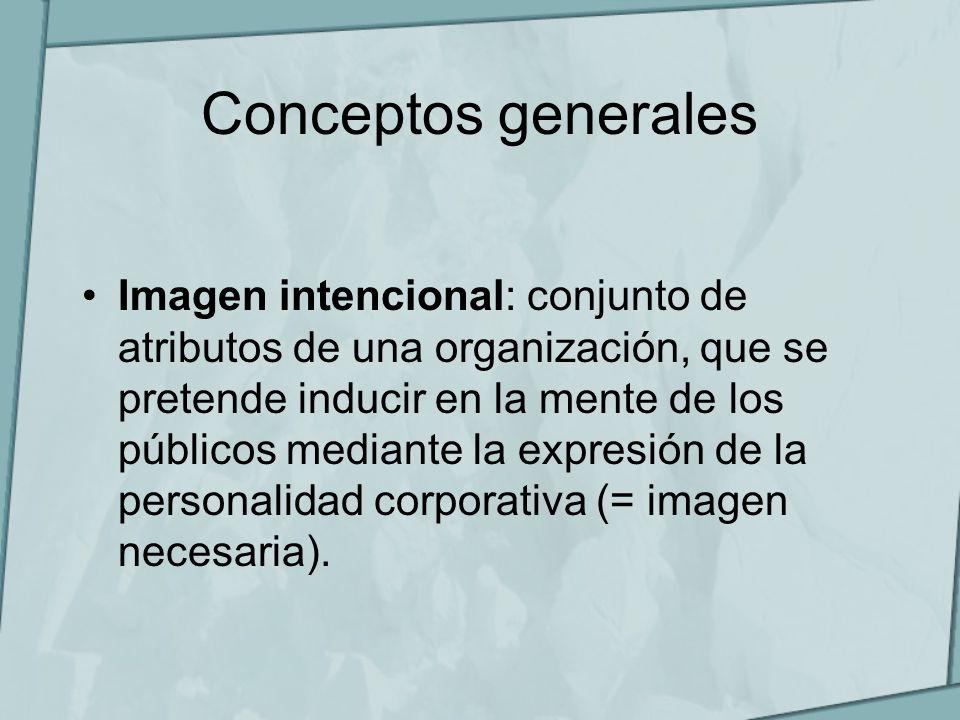 Conceptos generales Imagen intencional: conjunto de atributos de una organización, que se pretende inducir en la mente de los públicos mediante la exp