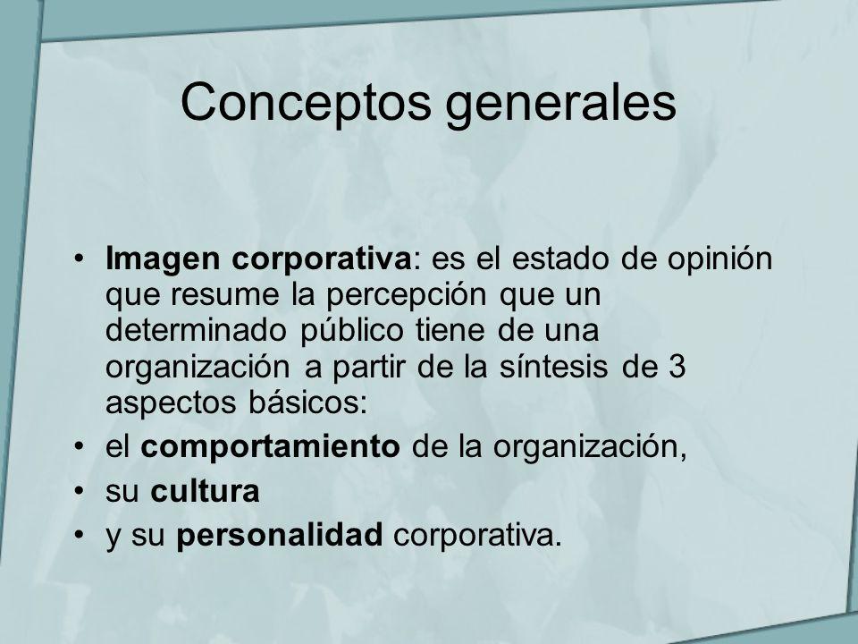 Conceptos generales Imagen corporativa: es el estado de opinión que resume la percepción que un determinado público tiene de una organización a partir
