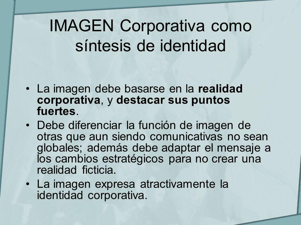 IMAGEN Corporativa como síntesis de identidad La imagen debe basarse en la realidad corporativa, y destacar sus puntos fuertes. Debe diferenciar la fu