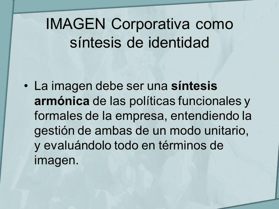 IMAGEN Corporativa como síntesis de identidad La imagen debe ser una síntesis armónica de las políticas funcionales y formales de la empresa, entendie