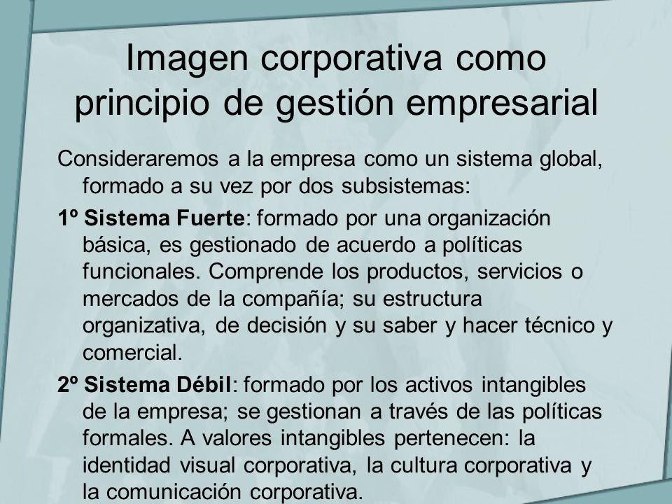Imagen corporativa como principio de gestión empresarial Consideraremos a la empresa como un sistema global, formado a su vez por dos subsistemas: 1º