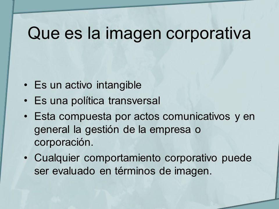 Que es la imagen corporativa Es un activo intangible Es una política transversal Esta compuesta por actos comunicativos y en general la gestión de la