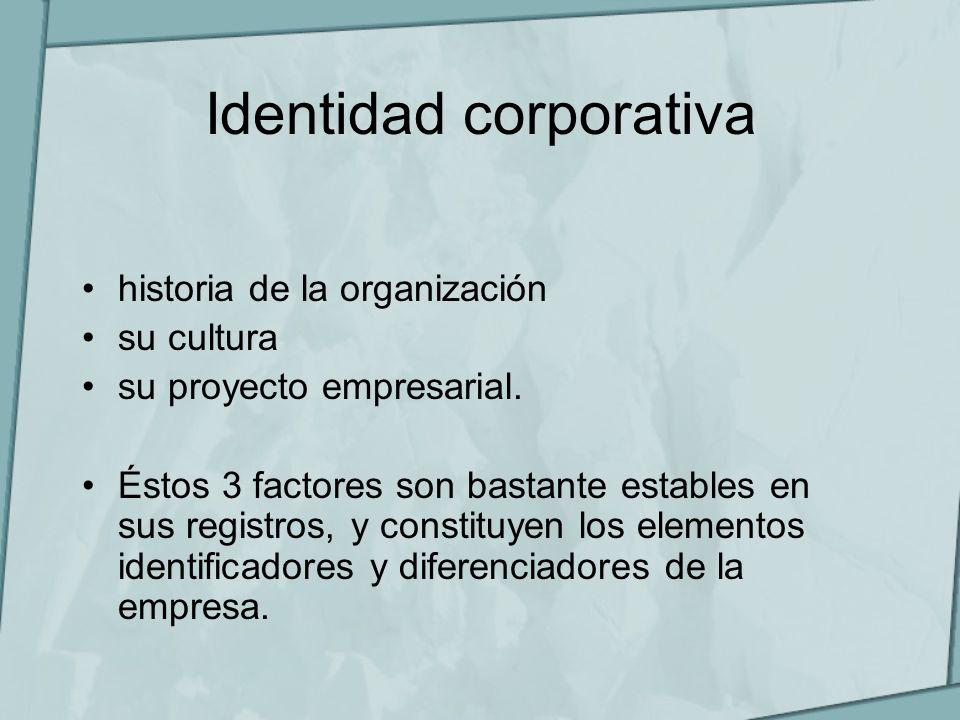 Identidad corporativa historia de la organización su cultura su proyecto empresarial. Éstos 3 factores son bastante estables en sus registros, y const