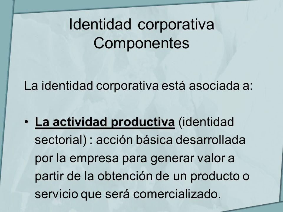 Identidad corporativa Componentes La identidad corporativa está asociada a: La actividad productivaLa actividad productiva (identidad sectorial) : acc