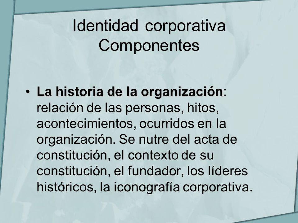 Identidad corporativa Componentes La historia de la organizaciónLa historia de la organización: relación de las personas, hitos, acontecimientos, ocur