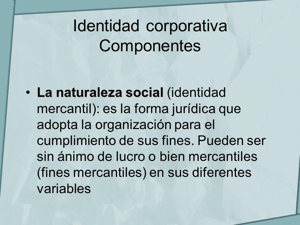 Identidad corporativa Componentes La naturaleza socialLa naturaleza social (identidad mercantil): es la forma jurídica que adopta la organización para