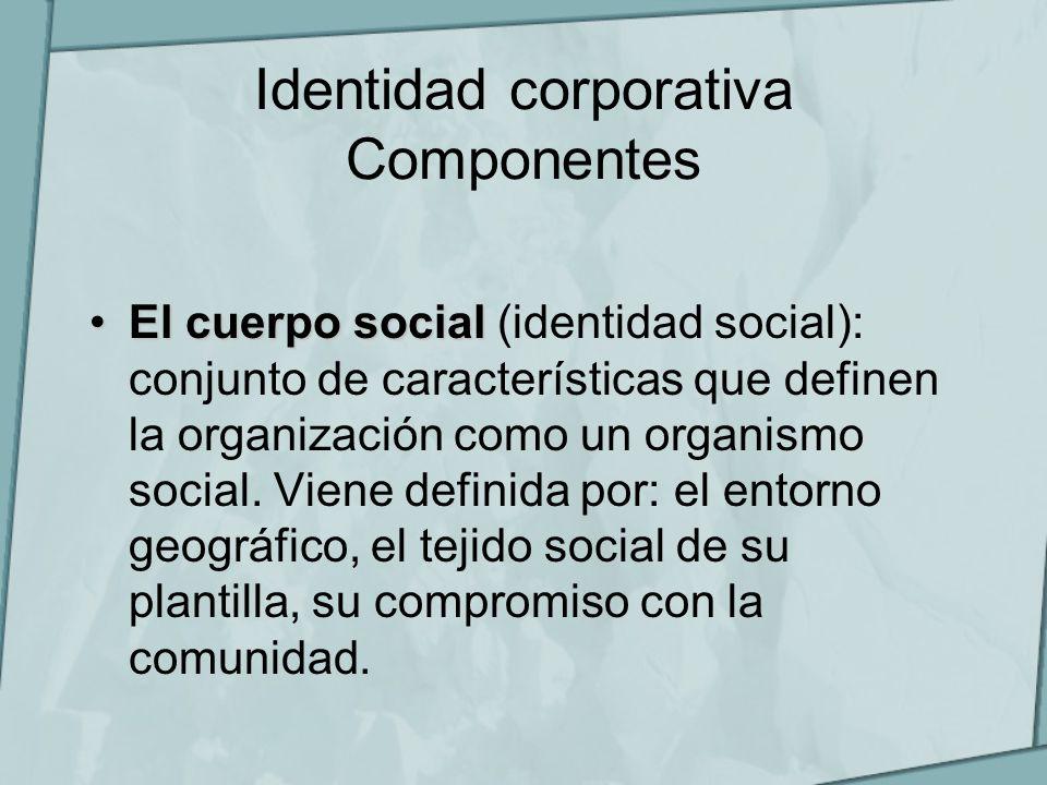 Identidad corporativa Componentes El cuerpo socialEl cuerpo social (identidad social): conjunto de características que definen la organización como un