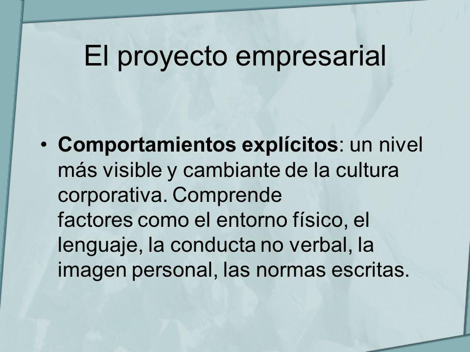 El proyecto empresarial Comportamientos explícitos: un nivel más visible y cambiante de la cultura corporativa. Comprende factores como el entorno fís