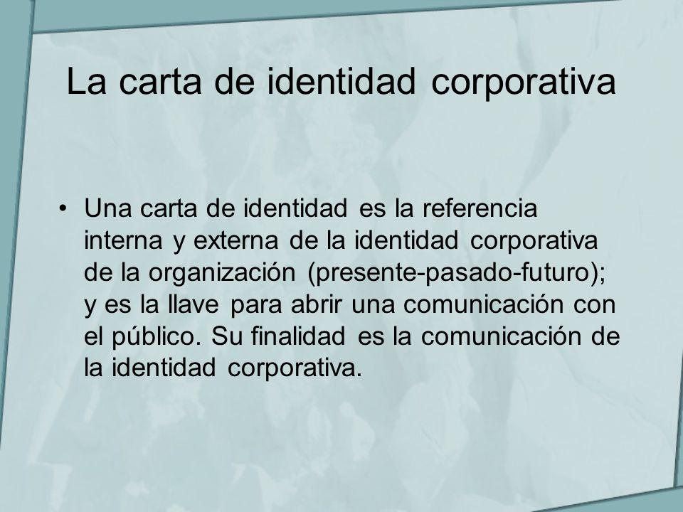 La carta de identidad corporativa Una carta de identidad es la referencia interna y externa de la identidad corporativa de la organización (presente-p