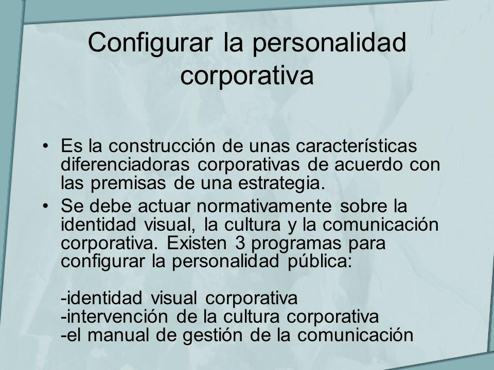 Configurar la personalidad corporativa Es la construcción de unas características diferenciadoras corporativas de acuerdo con las premisas de una estr