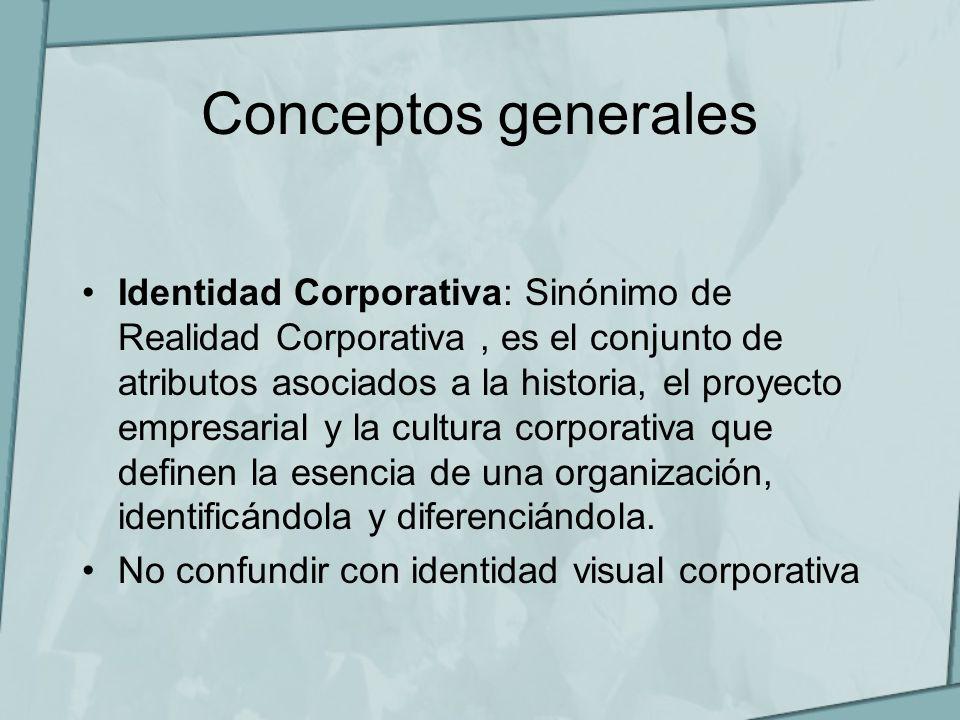 Conceptos generales Identidad Corporativa: Sinónimo de Realidad Corporativa, es el conjunto de atributos asociados a la historia, el proyecto empresar