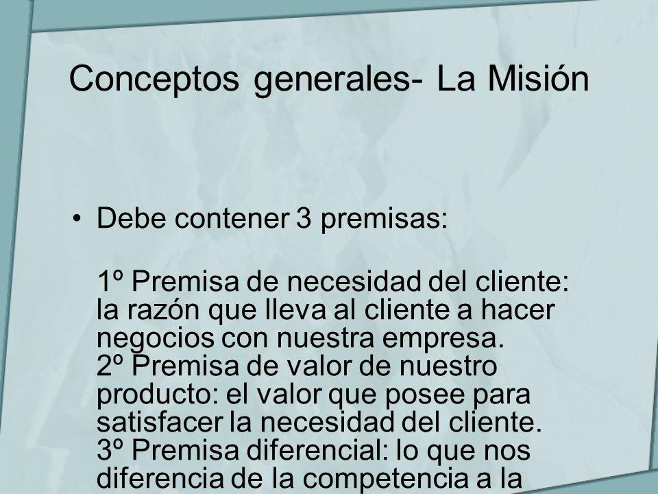Conceptos generales- La Misión Debe contener 3 premisas: 1º Premisa de necesidad del cliente: la razón que lleva al cliente a hacer negocios con nuest