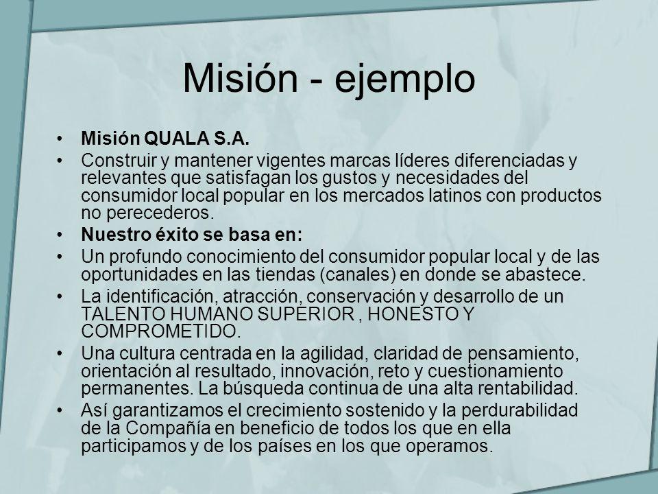 Misión - ejemplo Misión QUALA S.A. Construir y mantener vigentes marcas líderes diferenciadas y relevantes que satisfagan los gustos y necesidades del