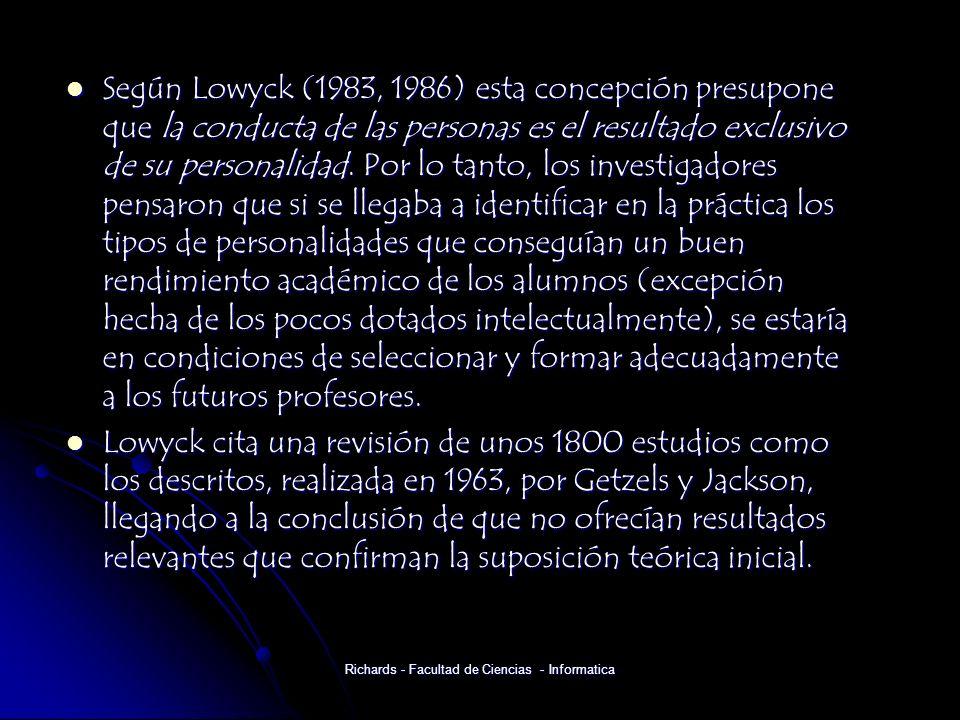 Según Lowyck (1983, 1986) esta concepción presupone que la conducta de las personas es el resultado exclusivo de su personalidad.