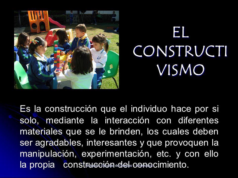 EL CONSTRUCTI VISMO Es la construcción que el individuo hace por si solo, mediante la interacción con diferentes materiales que se le brinden, los cuales deben ser agradables, interesantes y que provoquen la manipulación, experimentación, etc.