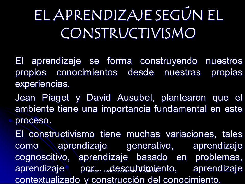 EL APRENDIZAJE SEGÚN EL CONSTRUCTIVISMO El aprendizaje se forma construyendo nuestros propios conocimientos desde nuestras propias experiencias.