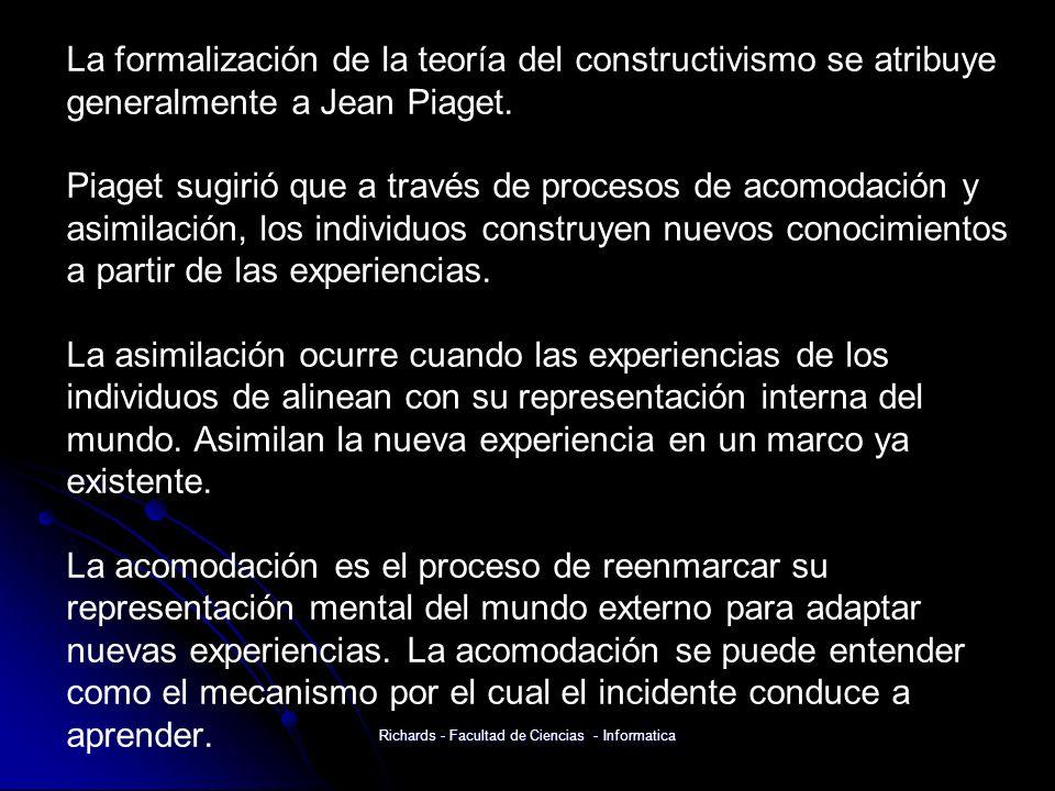 La formalización de la teoría del constructivismo se atribuye generalmente a Jean Piaget.
