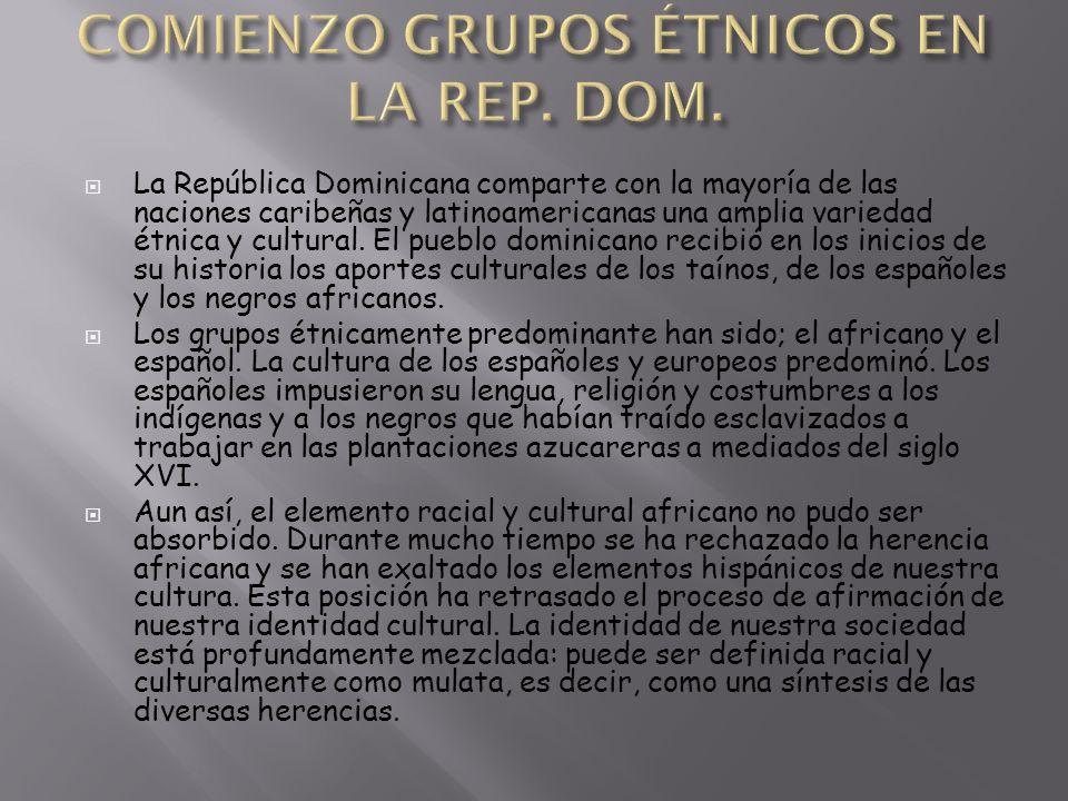 La República Dominicana comparte con la mayoría de las naciones caribeñas y latinoamericanas una amplia variedad étnica y cultural. El pueblo dominica