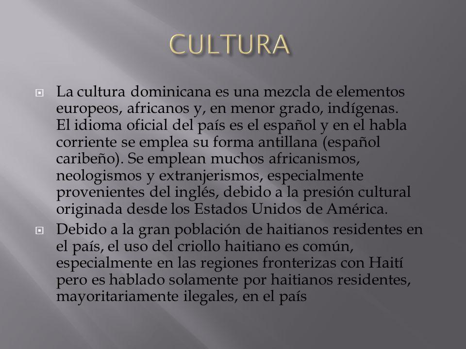 La cultura dominicana es una mezcla de elementos europeos, africanos y, en menor grado, indígenas. El idioma oficial del país es el español y en el ha