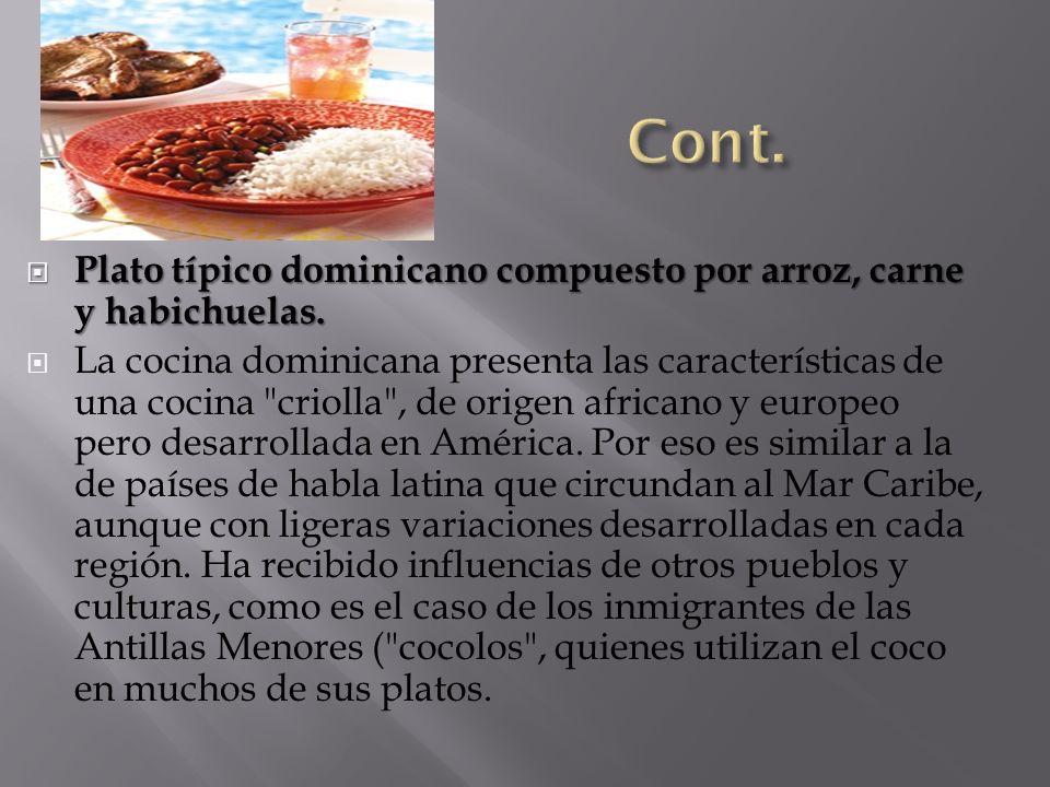Plato típico dominicano compuesto por arroz, carne y habichuelas. Plato típico dominicano compuesto por arroz, carne y habichuelas. La cocina dominica