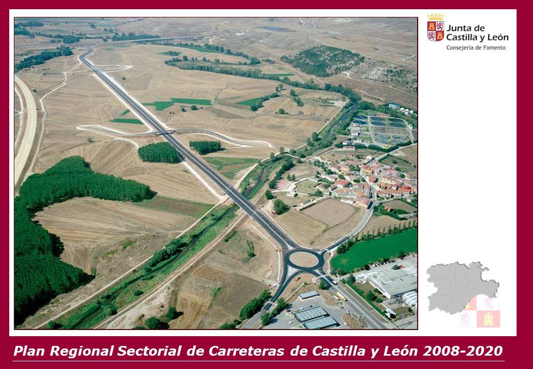 CIFRAS CLAVE 12.121 km 6.300 M 6.300 M 10 Grandes Ejes Adecuación de 10 Grandes Ejes 562 km autovías, desdoblamientos y accesos a ciudades y nuevas carreteras Construcción de 562 km de autovías, desdoblamientos y accesos a ciudades y nuevas carreteras Construcción de 118 variantes de población Construcción de 118 variantes de población Plan Regional Sectorial de Carreteras de Castilla y León 2008-2020