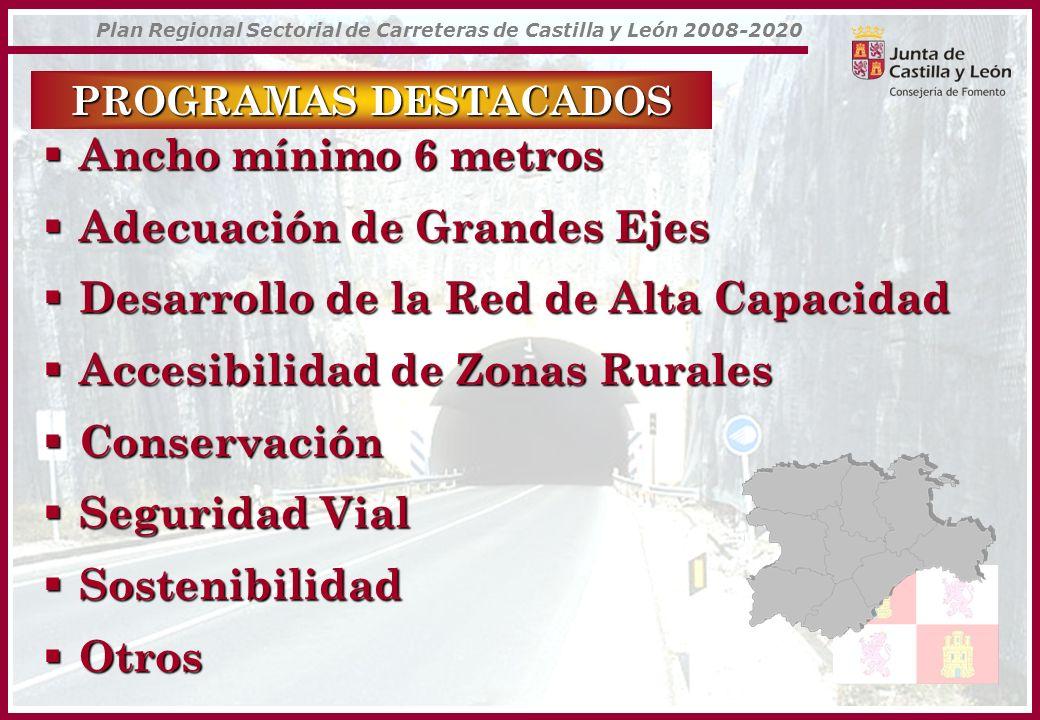 Plan Regional Sectorial de Carreteras de Castilla y León 2008-2020 PROGRAMAS DESTACADOS Ancho mínimo 6 metros Ancho mínimo 6 metros Adecuación de Gran