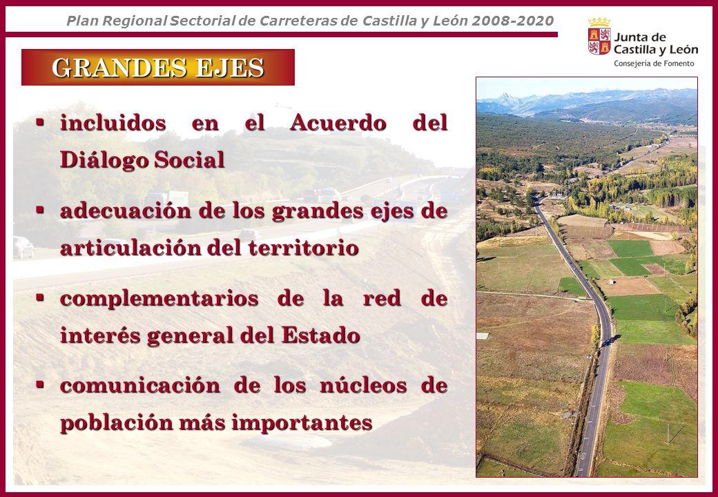 Plan Regional Sectorial de Carreteras de Castilla y León 2008-2020 GRANDES EJES incluidos en el Acuerdo del Diálogo Social incluidos en el Acuerdo del