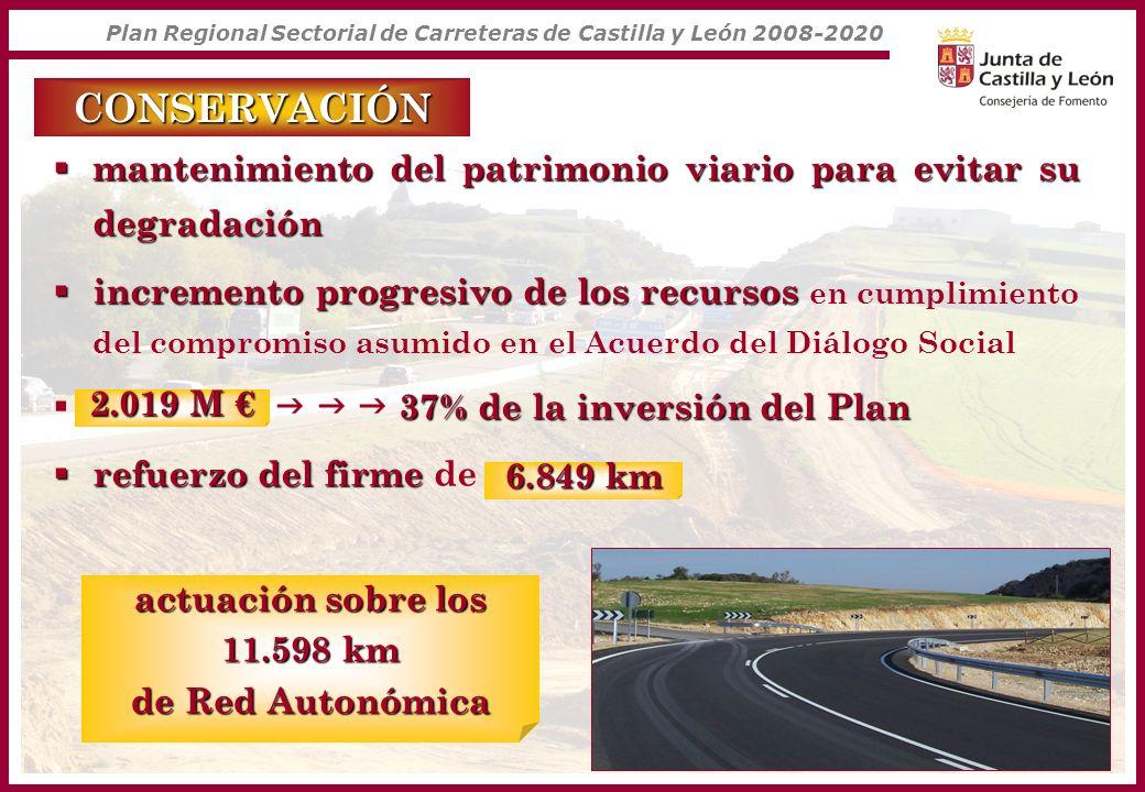 Plan Regional Sectorial de Carreteras de Castilla y León 2008-2020 CONSERVACIÓN mantenimiento del patrimonio viario para evitar su degradación manteni